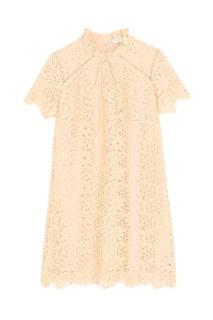 Бежевое кружевное платье Sandro