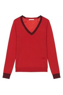 Красный пуловер с контрастной отделкой Maje
