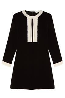 Мини-платье с контрастной отделкой Sandro