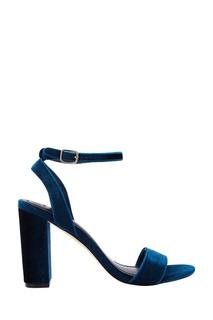 Синие бархатные босоножки Sandro