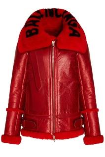 Красная кожаная куртка с мехом Balenciaga