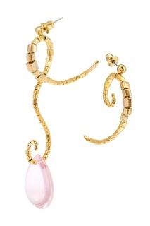 Асимметричные серьги с розовой бусиной «Ботаника» Peresvetti