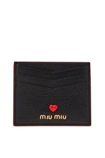 Черный футляр для карт Miu Miu