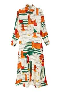 Шелковое платье с контрастным принтом Gucci