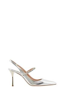Серебристые туфли с кристаллами Miu Miu