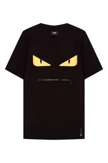 Черная футболка с принтом и молнией Fendi