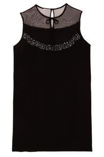 Короткое черное платье с полупрозрачным верхом Miu Miu