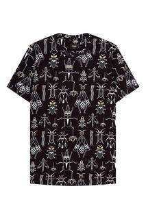 Черная футболка с принтом Fendi