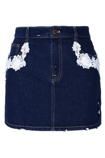 Джинсовая юбка с кружевной отделкой Miu Miu