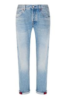 Голубые джинсы с потертостями Gucci
