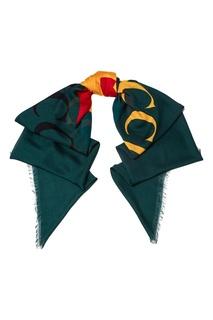 Зеленый шарф с логотипом Gucci