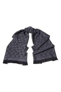 Серый шерстяной шарф с монограммами Gucci