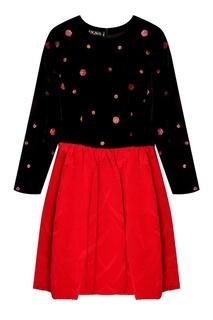 Комбинированное платье с блестящей отделкой (80е гг) Escada by Margaretha Ley Vintage