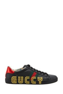 Черные кожаные кеды с логотипом Gucci