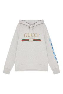 Серое меланжевое худи с монограммами Gucci