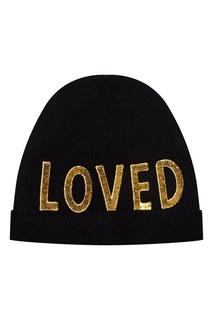 Черная шапка с пайетками Gucci