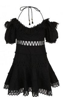 Однотонное мини-платье из смеси хлопка и льна Zimmermann