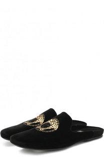 Текстильные сабо с логотипом бренда Versace