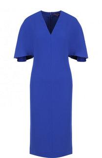 Однотонное приталенное платье с V-образным вырезом Ralph Lauren
