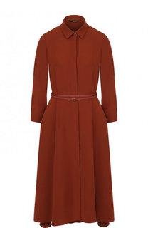 Однотонное шелковое платье-миди с поясом Loro Piana