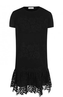 Однотонное мини-платье с кружевной отделкой Valentino