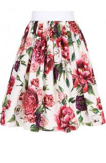 Хлопковая мини-юбка в складку с принтом Dolce & Gabbana