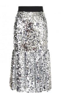 Юбка-миди с эластичным поясом и пайетками Dolce & Gabbana