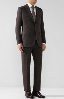Костюм с пиджаком на двух пуговицах из смеси шерсти и шелка Brioni