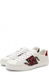 Кожаные кеды Ace на шнуровке Gucci