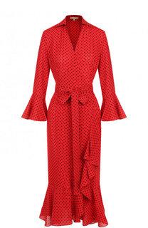 Шелковое платье-миди с поясом и оборками Michael Kors Collection