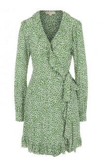 Шелковое мини-платье с запахом и принтом MICHAEL Michael Kors