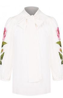 Шелковая блуза с декоративной отделкой и воротником аскот Dolce & Gabbana