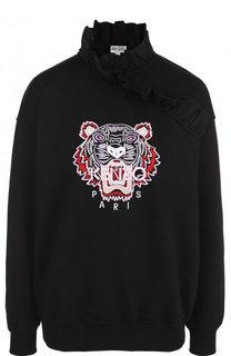 Хлопковый пуловер с оборками и воротником-стойкой Kenzo