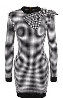 3a76a8d8110 Приталенное мини-платье с контрастной отделкой и бантом Balmain