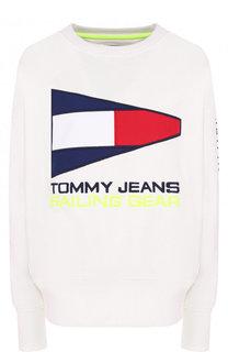 Хлопковый пуловер с круглым вырезом и логотипом бренда Tommy Hilfiger