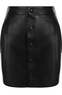 Кожаная мини-юбка с карманами Saint Laurent