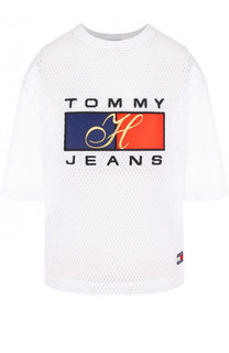 Футболка с логотипом бренда в сетку Tommy Hilfiger