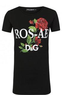 Хлопковая футболка с круглым вырезом и принтом Dolce & Gabbana