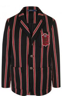 Жакет из смеси шерсти и хлопка в полоску Polo Ralph Lauren