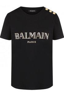 Хлопковая футболка с логотипом бренда и контрастными пуговицами Balmain