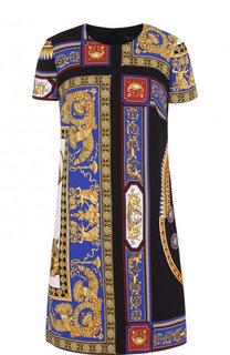 Мини-платье с круглым вырезом и принтом Versace