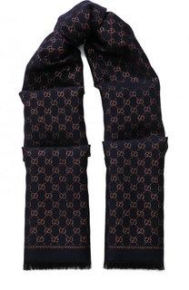 Шарф с принтом и необработанным краем Gucci
