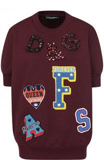 Хлопковый пуловер с круглым вырезом и декоративной отделкой Dolce & Gabbana