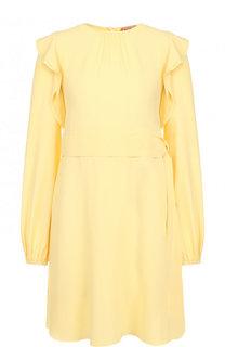Однотонное мини-платье с поясом и оборками No. 21