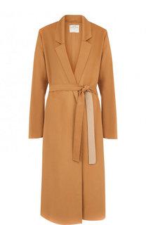 Однотонное шерстяное пальто с поясом Forte_forte