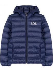 Стеганая куртка на молнии с капюшоном Ea 7