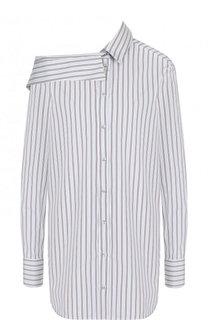 Хлопковая блуза с открытым плечом в полоску Victoria, Victoria Beckham