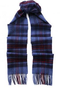 Кашемировый шарф в клетку с бахромой Johnstons Of Elgin