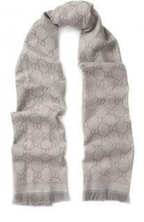 Шерстяной шарф с принтом и бахромой Gucci