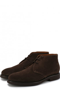 Замшевые ботинки на шнуровке с внутренней меховой отделкой Doucals